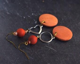 heart shaped earrings, silver heart earrings, heart earrings silver, love heart earrings, earrings made of wood, red jasper earrings