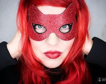 "Mask ""Disco Cat"" - red"