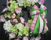 Spring Summer Door Wreath, Mothers Day Wreath, Hydrangea Wreath, Spring Front Door Wreath, Spring Summer Wreaths, Hanging Pink White Petunia