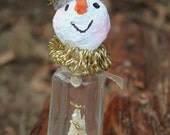 Claude Snow, Christmas Decor: Whimsical salt shaker snowman decoration with vintage accents and paper pulp clay head