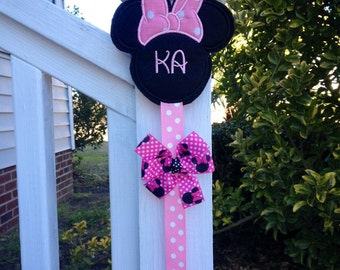 Monogrammed Minnie Mouse Hair Bow Holder