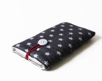 sleeve for iPhone SE gray bag stars cover case fabric upholstered handmade 4S, 4, 3G, 5, 5C