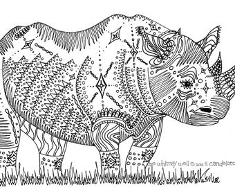 Digital Download Rhino Coloring Page - Adult Coloring - Rhinoceros Art