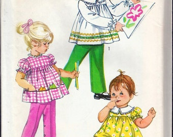 """Vintage 1970 Simplicity 9090 Toddlers' Top, Pants & Bloomers Sewing Pattern Size 1 Breast 20"""" UNCUT"""