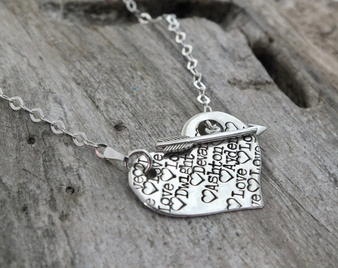 Personalized Necklace / Nana Necklace / Gift for Nana from Grandchildren / Sterling Silver Heart Necklace / Heart Pendant /