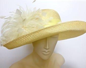 Kentucky Derby Hat Yellow Straw Derby Hat Church Hat Yellow