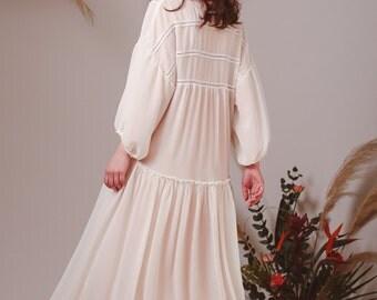 Bohemian wedding dress,Alternative wedding dress,Boho wedding dress,Beach wedding dress,Summer dress,White dress,Gypsy dress,Georgette