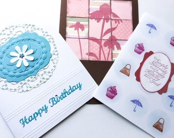 Large greeting cards - birthday cards - religious cards - pink flowers - Stampin up cards - set of greeting cards