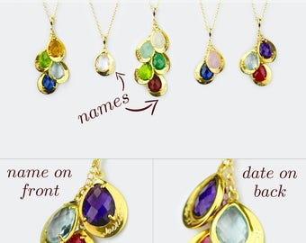 Name Engraved Mother's Jewelry Bridesmaid Name and Birthday Necklace Grandma Gift for Mom Birthstone Necklace Kids Names and Birthdates Gold