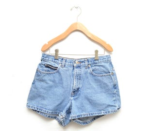 80s High Waisted Shorts Denim Blue Womens 10 30""