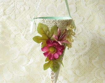 Paper And Lace Floral Gift Cone / Wall Hanging