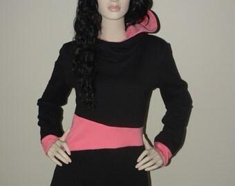 Woman hoodie, with hood, pink and black