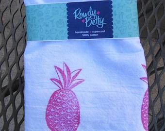 Kitchen/tea towel - hand stamped pink pineapple