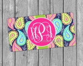 Bright Paisley Monogrammed License Plate, Monogram, Personalized, Preppy