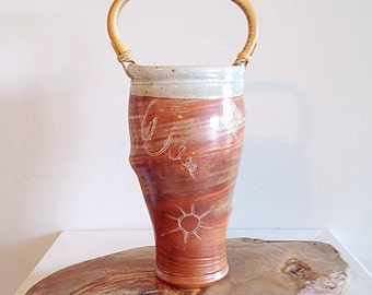 Beautiful Vintage Golden Desert Studio Pottery Vase Handmade