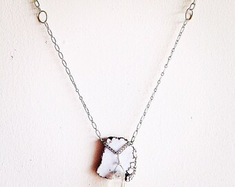 Pale Skies. Blue Lace Agate and Crystal Organic Boho Necklace