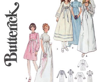 1970s Boho Empire Waist Wedding Dress Sewing Pattern - Size 6 Bust 30 1/2 - Fitted bodice Bridesmaid Dress Bridal Gown - Butterick 6000