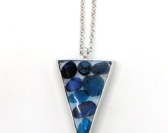 "Blue Stones Pendant - lovely blue glass ""stones"" encased in resin with open back triangle shape bezel - Triangle pendant - Blue Jewelry"
