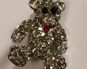 Vintage Tiny Crystal Rhinestone TEDDY BEAR Brooch ~ Scatter Pin ~ B & W Red