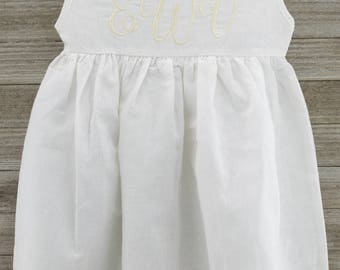 Beautiful Monogrammed White Linen Dress, Perfect for Beach Photos, Weddings and Warm Summer Days!