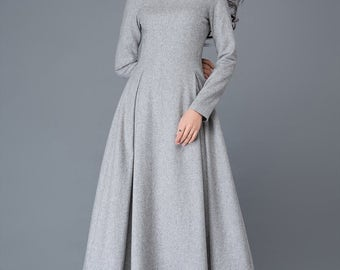 womens dresses, wool dress, winter dress, long dresses for women, dress, maxi dress, grey dress, wool dress, womens dresses  C1026