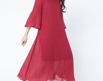 red dress, red linen dress, loose dress, tired dress, midi dress, plus size dress, women dresses,  three quarter sleeve dress  C1081