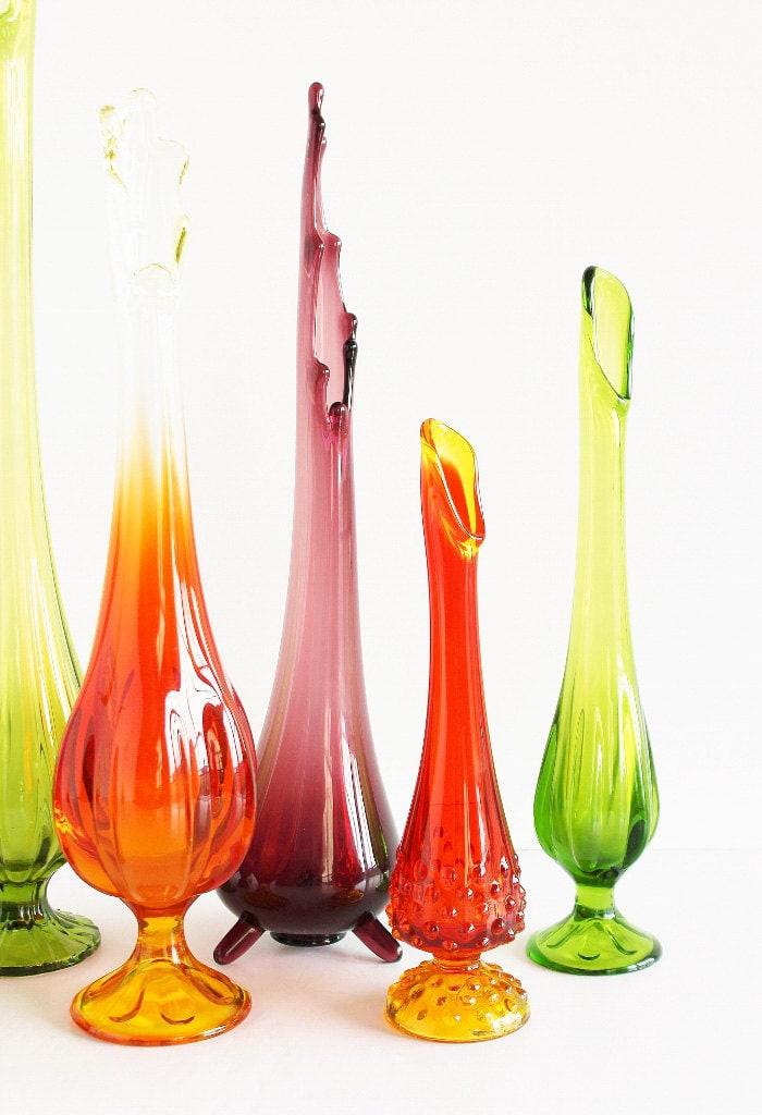 Swung Stretch Glass Vase Orange Yellow Hobnail 10 Skinny