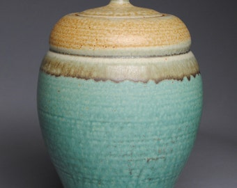 Clay Covered Jar Copper Green and Cream F70
