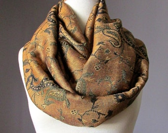 Copper scarf, infinity scarf, paisley scarf, floral scarf, fashion scarf