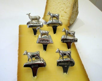 Six Vintage French Stainless Steel Cheese Markers - French Cheese Markers - Cows - Sheep - Goat - Great for Parties