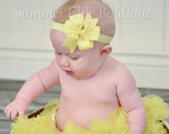 Baby Headband, Bow Headband, Infant Headband, Newborn Headband - Light Yellow Pinwheel  Bow Headband, Headband,Bow on Fold over elastic