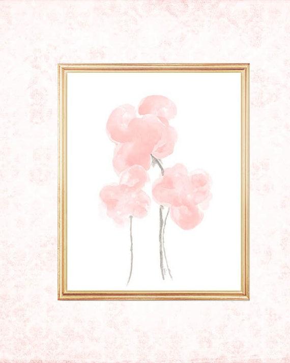 Blush Watercolor Flowers, 8x10 Print