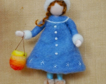 Girl with Lantern Waldorf inspired needle felted doll:  The Lantern Walk. Made to order.