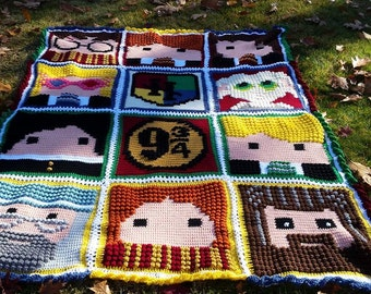 Harry Potter pillow or Afghan Crochet  Choose your design and size