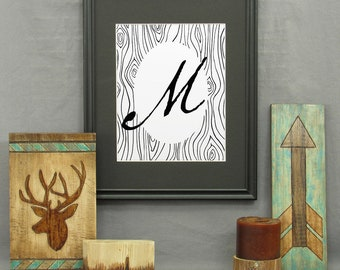Letter M Print, printable, large letter art, typography, monogram, modern rustic décor, alphabet, initials, poster, wall art, historical