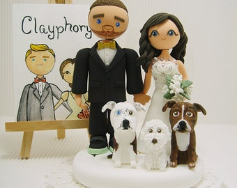 Cute couple with 3 dogs custom wedding cake topper