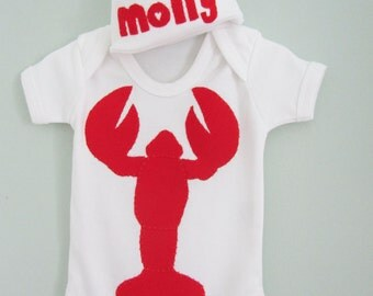 Lobster baby gift set - personalised hat and lobster baby clothes
