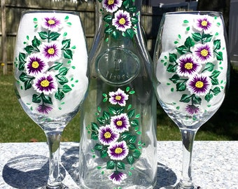 Carafe and Wine Glasses Hand Painted Purple Flowers, Set of 3, Housewarming Gift, Wedding Gift, Wine Lovers Gift, Bridal Shower Gift