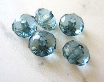 9x14mm Faceted Rondelle Blue Acrylic Beads Montana 20pcs