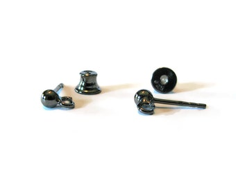 "SALE ""Black Gold"" Ball Earring Posts with Silicone Stopper Clutch 1 Pair"