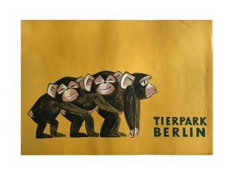 SALE 10% OFF Original Vintage Zoo Poster. Berlin. Germany. Tierpark. Monkey. Advertising Poster. 2017-048