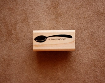 Spoon Rectangular Stamp/ Coffee Related Rubber Stamps/1999 Stampin Up