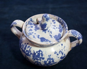 Blue and White Sugar Bowl / Lid / Handcrafted Ceramic /Blue and White