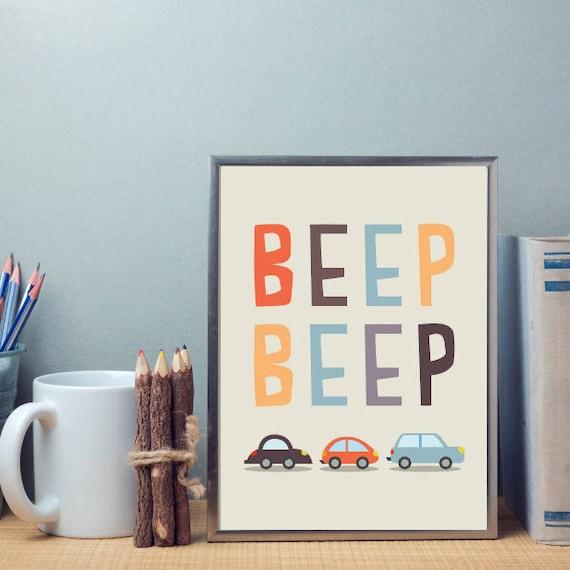 Little Baby Boy's Beep Beep Cars and Trucks Nuetral tones Nursery Children's Art Simple Minimalist Print - Digital Instant Download