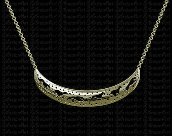3D Greyhound crescent necklace - Gold
