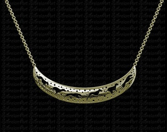 3D Italian Greyhound crescent necklace - Gold