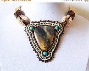 CHRISTMAS SALE Statement Beadwork Bead Embroidery Pendant Necklace with Multi-Color Amazonite - AMBER Song - Fall Fashion - Creamy - brown