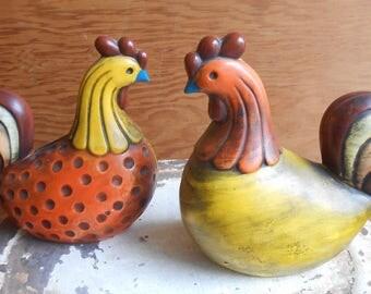 Vintage Ceramic Chicken Rooster 1970s Figurines Ardco Fine Quality Modern Figurines Mid Century Modern Design