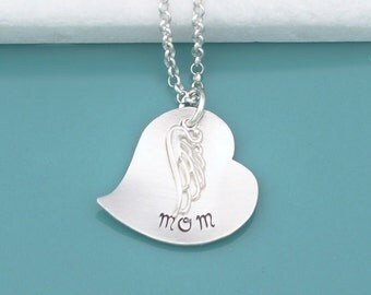 """Remembrance """"In Memory of"""" Memorial Necklace - Angel Wing .925 Sterling Silver Chain - Custom Stamped Jewelry - Heart Pendant Name Necklace"""