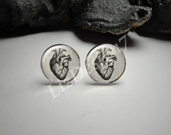 Human Heart Linen Cuff Links and Tie Clip/ Anatomy Silver Tie Clip and Cuff Link Set for Him/ Doctor Cuff Links Men Gift